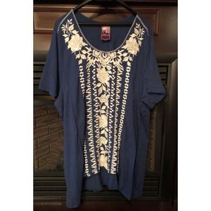 Johnny Was Embroidered Floral Oversize Tunic Sz Lg